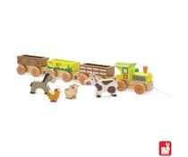 Janod Baby Story trein boerderij trekfiguur