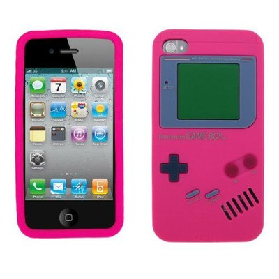 Iphone 4 (S) gameboy siliconen hoes roze