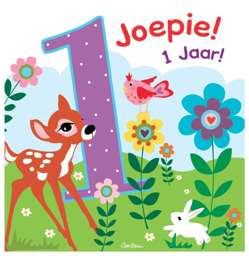 1 jaar AMbDB Wenskaart JOEPIE! 1 jaar!   Online Babywinkel De Babykraam 1 jaar