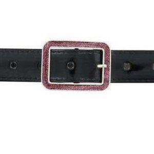 Kinderriem - Zwart Lak Leer + Glitter Gesp - Roze