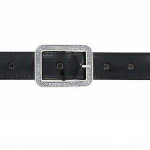 Oxxy Kinderriem - Zwart Lak Leer + Glitter Gesp - Zilver