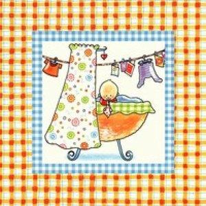 Pauline Oud Wenskaart - Baby in wieg 060
