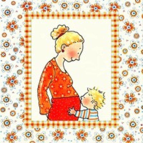 Pauline Oud Wenskaart - Kus op babybuik 073