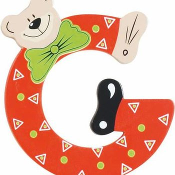 Playshoes De letter G - houten plakletter beer
