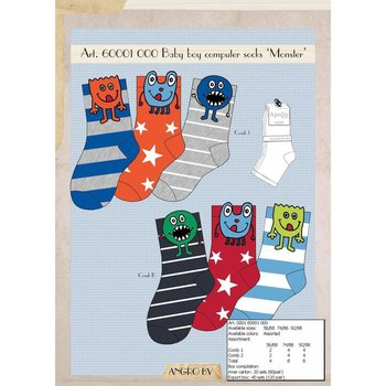 Apollo 3 paar Stoere jongens-Sokjes Monster
