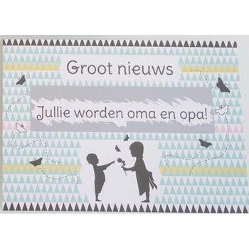 Minimou Kraskaart - Jullie worden Opa en Oma! - Nordic silouette Groot nieuws!