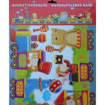 A.M Muurstickerband Circus voor kinderkamer
