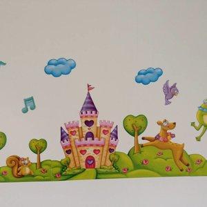 AMbDB Muurstickerband Prinses en het kasteel voor kinderkamer