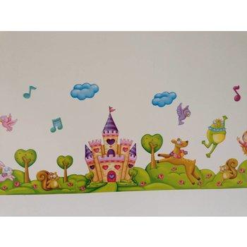 A.M Muurstickerband Prinses en het kasteel voor kinderkamer