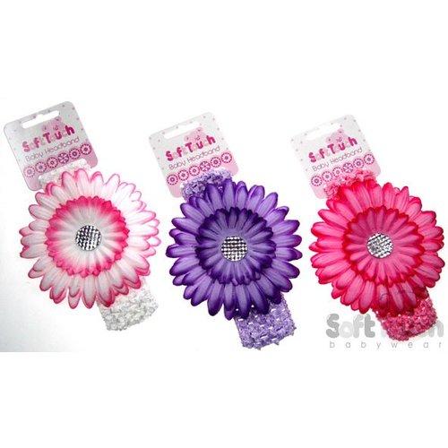 Soft Touch Haarband met grote Bloem - Sage