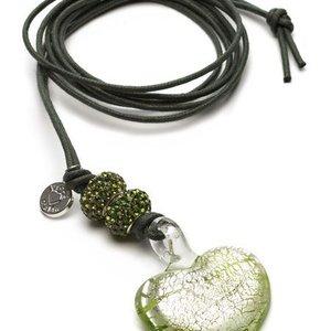 Proud MaMa Ketting glas Murano Hart - Green