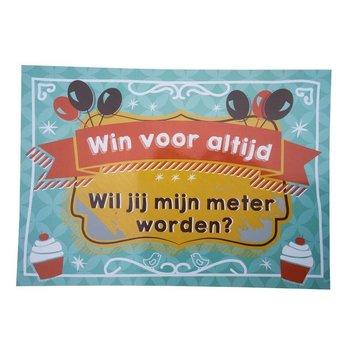 Minimou Kraskaart Meter Balloons & cupcakes - Wil je mijn meter worden?
