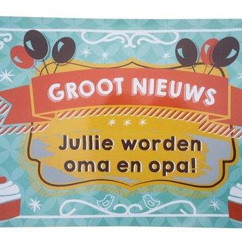 Minimou Kraskaart - Jullie worden Opa en Oma! - Balloons & cupcakes Groot nieuws!