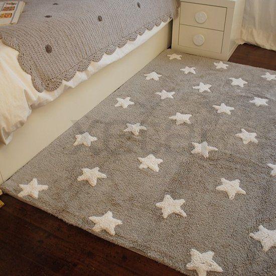 Lorena canals wasbaar sterren vloerkleed katoen grijs met - Teppich babyzimmer junge ...