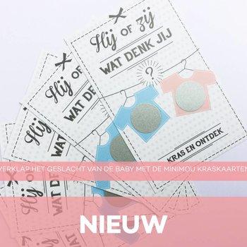 Minimou Kraskaart 10-pack - gender reveal -- Verklap het geslacht van de baby