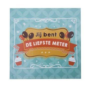 Minimou Wijnetiket - Jij bent de Liefste Meter! Balloons & Cupcakes. Sticker