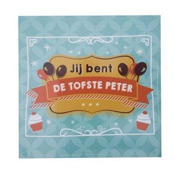 Minimou Wijnetiket Sticker - Jij bent de tofste Peter! Balloons & Cupcakes