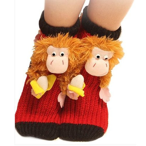 AMbDB Anti-slip slofsok met aap - Homesock monkey