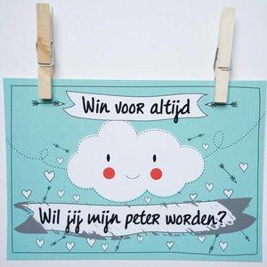 Kraskaart Peter Funny Clouds - Wil je mijn peter worden?