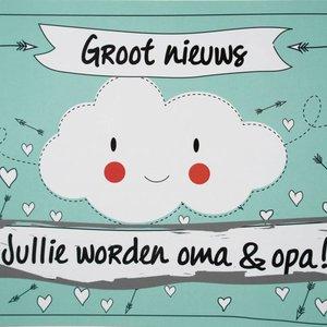 Kraskaart - Jullie worden Opa en Oma! - Funny Clouds