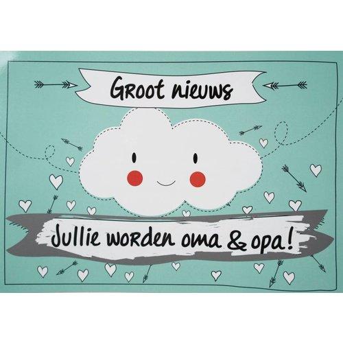 Minimou Kraskaart - Jullie worden Opa en Oma! - Funny Clouds