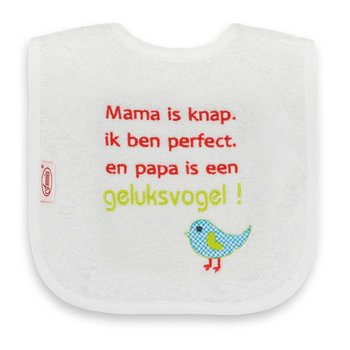 Funnies Tekstslabber Mama is knap. Ik ben perfect. En papa is een Geluksvogel!