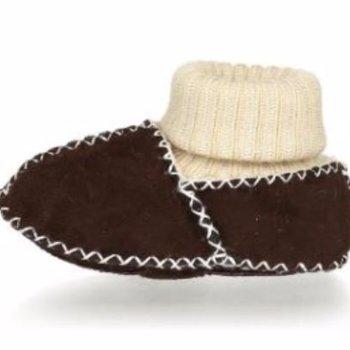 Playshoes Winterslofjes van lamsleder Donkerbruin