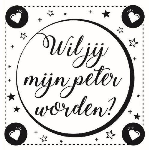 Minimou Wijnetiket Sticker - Wil je mijn Peter worden? Black&White