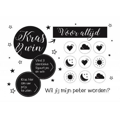 Minimou Kraskaart Peter Black&White - Wil je mijn Peter worden?