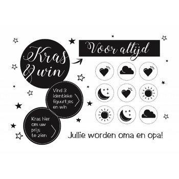 Minimou Kraskaart - Jullie worden Opa en Oma! - Black&White