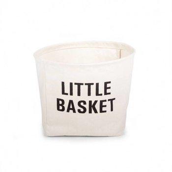 Childwood Witte mand katoen met zwart opschrift Little Basket