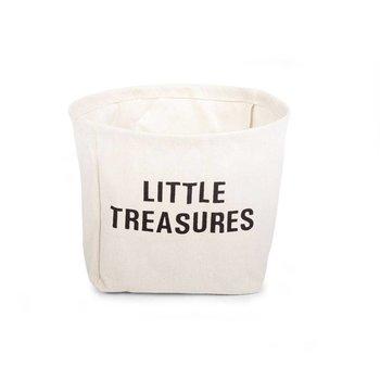 Childwood Witte mand katoen met zwart opschrift Little treasures