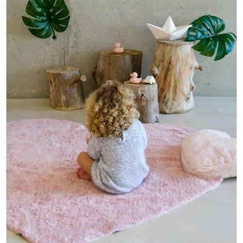 Lorena Canals Puffy Vloerkleed Roze Hartje met Kussen - 100% Katoen