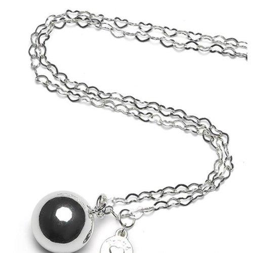 Proud MaMa Heartchain Zilveren Babybel Bol - verzilverd