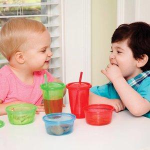 Nûby 4 snack cups bewaarbakjes met deksels - 120 ml