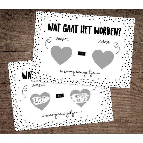 Hippe Kaartjes Kraskaart - Gender reveal - Boy - Verklap het geslacht van de baby