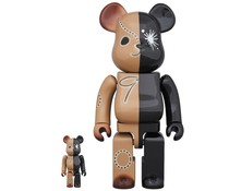 400% & 100% Bearbrick set - Black & Brown by Mihara Yasuhiro