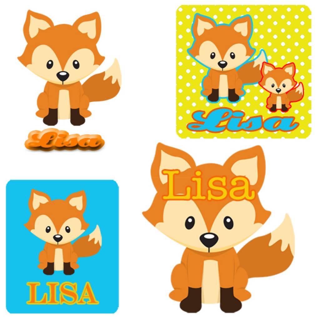 72 Stickers vosje met naam