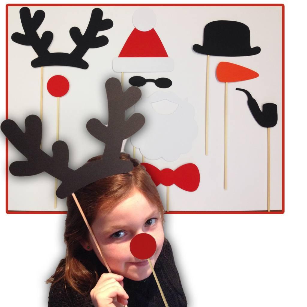 Photo props - Kerstmis, kerstman, rendier en sneeuwpop