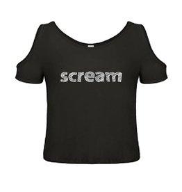 T-shirt met blote schouders met tekst