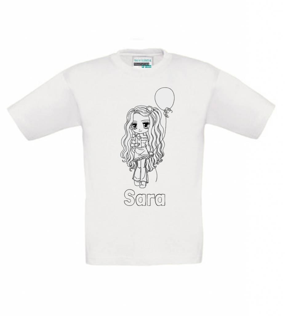 Kleur je eigen t-shirt met naam - meisje feest