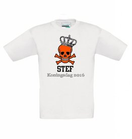 T-shirt Koningsdag doodshoofd met kroon met naam