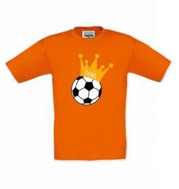 T-shirt voetbal met kroon en naam