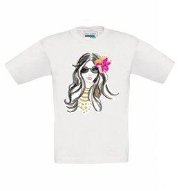 T-shirt meisje met bloem in het haar