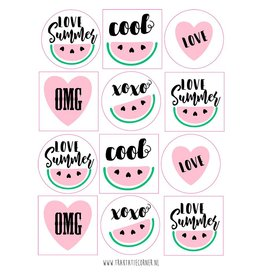 Stickers meloen - 12 set