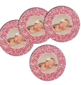 Bierviltjes muisjes roze met foto - 12 stuks