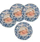 Bierviltjes muisjes blauw met foto - 12 stuks
