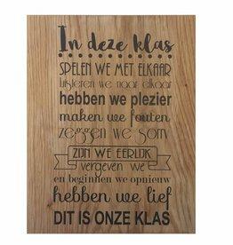 Bedrukt eikenhout - quote in onze klas