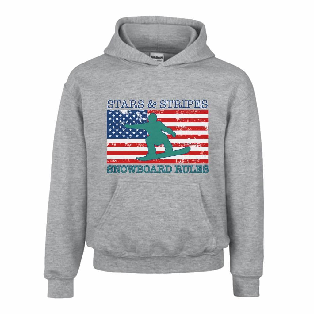 Hoodie snowboard rules met Amerikaanse vlag