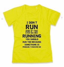 Sport shirt quick&dry - I don't run - fluoriserend geel